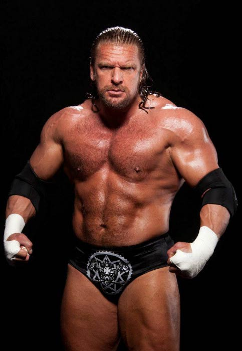 Triple H shirtless in a file picture for the WWE website