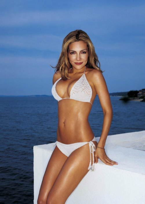 Vanessa Marcil poses for a modeling photoshoot in Greece