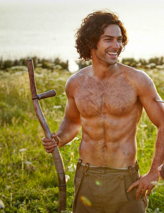 Aidan Turner shirtless in a scene from the Poldark TV series