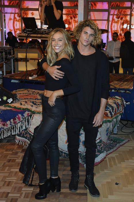 Alexis Ren and Jay Alvarrez at the Pull & Bear biggest Store opening in December 2015 in Madrid