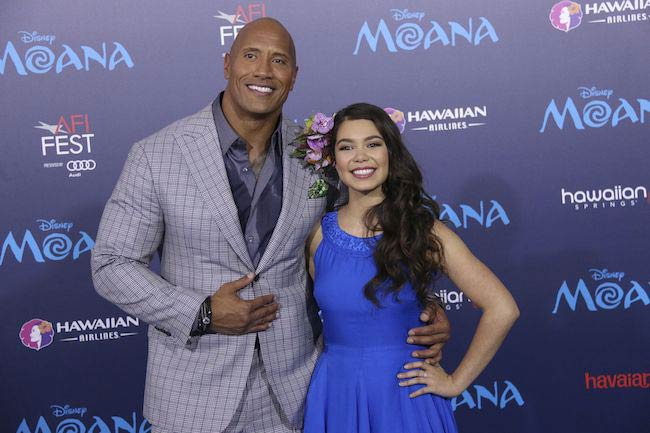Auli'i Cravalho at the AFI Fest with co-star Dwayne Johnson for the premiere of Moana in November 2016