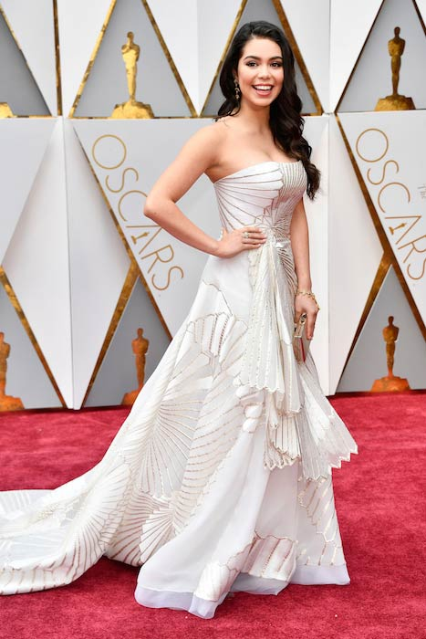 Auli'i Cravalho at Oscar's red carpet in February 2017