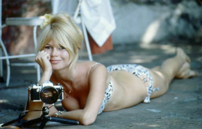 Brigitte Bardot in a modeling photoshoot in the 1960s