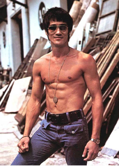 Bruce Lee shirtless body modeling photoshoot