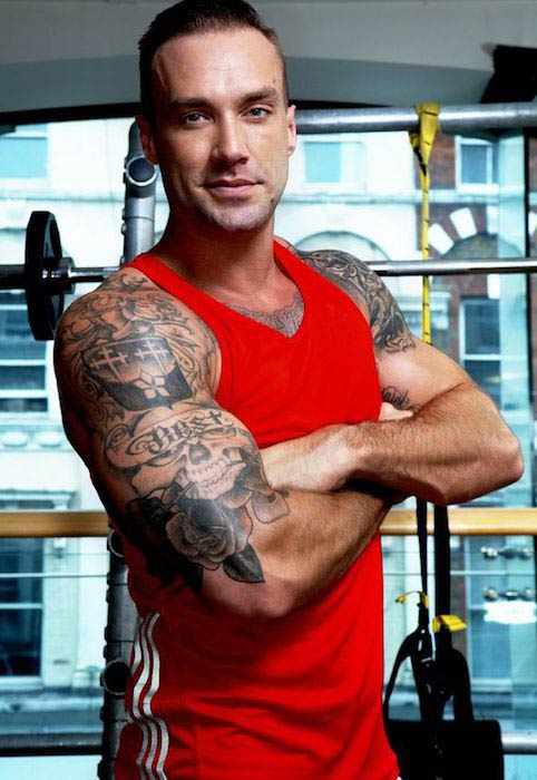 Calum Best showing his bulging biceps