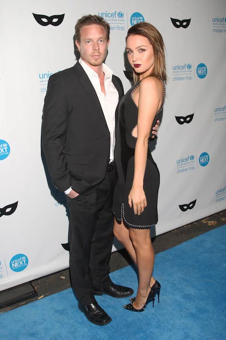 Camilla Luddington with Matt Alan at UNICEF Black & White Masquerade Ball in Los Angeles in October 2015