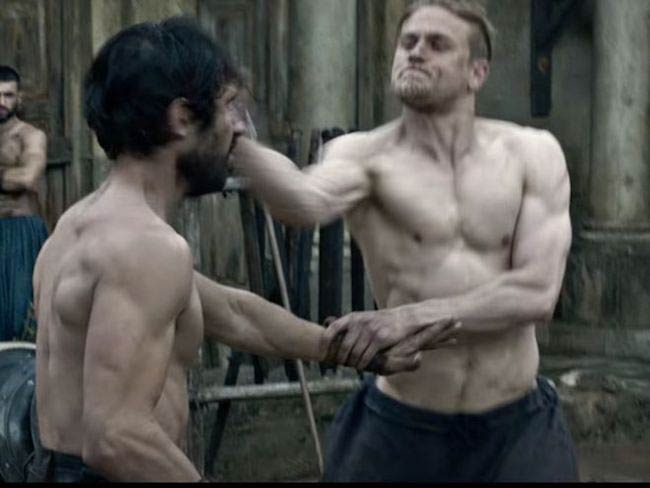 Charlie Hunnam in a fighting scene in King Arthur Legend of the Sword