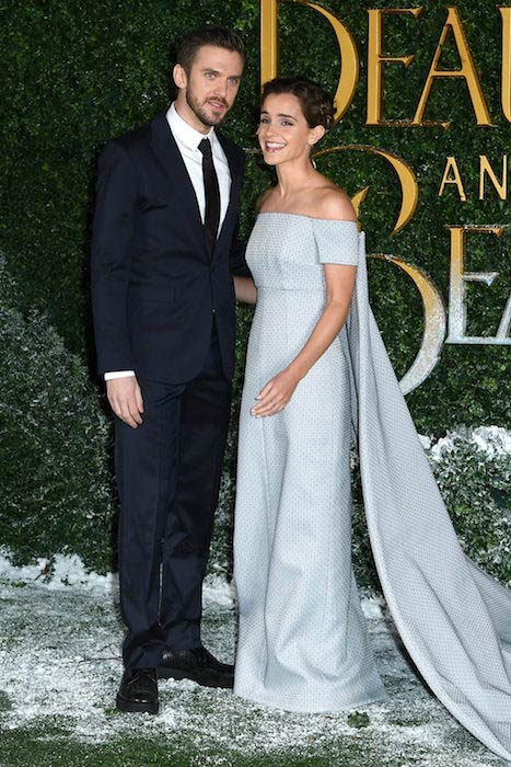 Dan Stevens with co-star Emma Watson at Spencer House, London for the premiere of Beauty and the Beast in February 2017