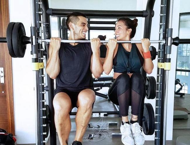 Erwan Heussaff with sister Solenn in the gym
