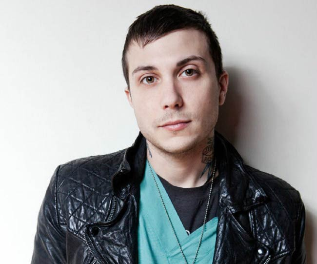 Frank Iero in a modeling photoshoot done in 2015