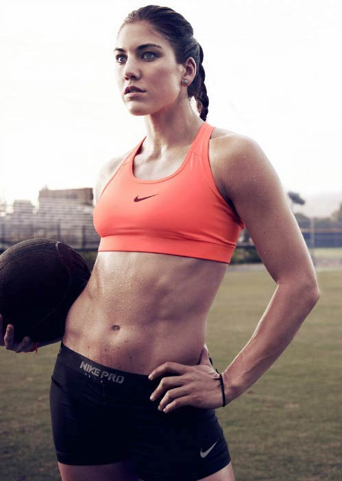 Hope Solo poses for a promotional photoshoot for Nike
