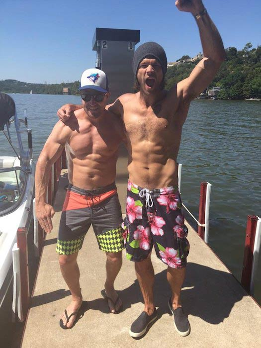Jared Padalecki with fellow CW actor, Stephen Amell in August 2015. The two men posted shirtless pictures to promote awareness for Jared's AKF campaign