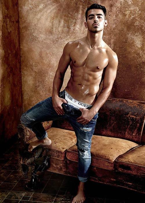 Joe Jonas shirtless during 2017 Guess underwear shoot