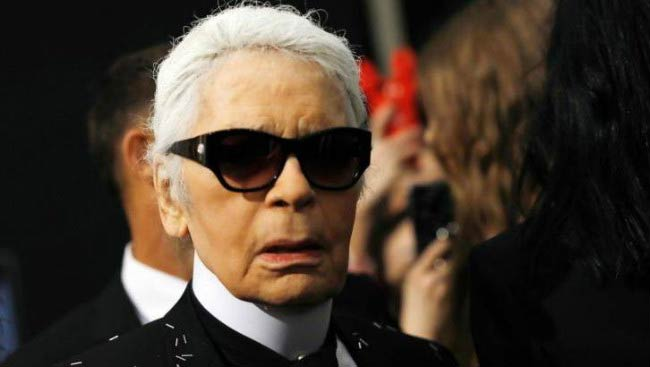 Karl Lagerfeld at the Fendi show during Milan Fashion Week in February 2017