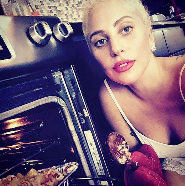 Lady Gaga cooking food