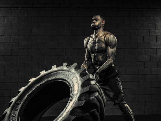 LeBron James Tractor Tire workout