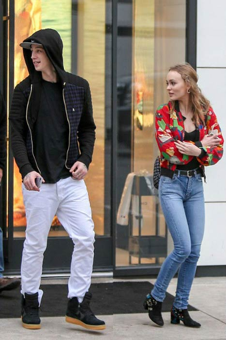 Lily-Rose Depp and Ash Stymest leaving Chanel store in Beverly Hills in January 2017
