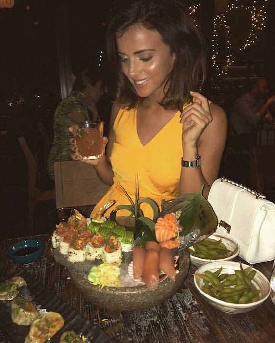 Lucy Mecklenburgh enjoying her time in a restaurant
