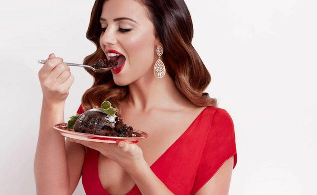 Lucy Mecklenburgh having cake