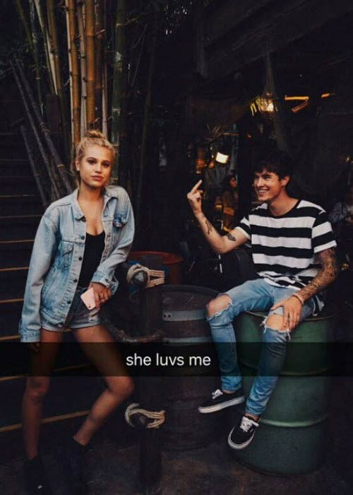 Meredith Mickelson and Kian Lawley in a picture shared on his Snapchat in 2016