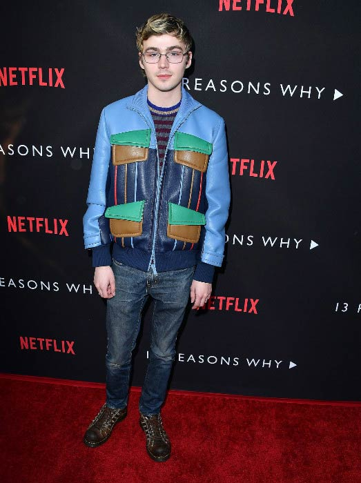 "Miles Heizer at the premiere of Netflix's ""13 Reasons Why"" in March 2017"