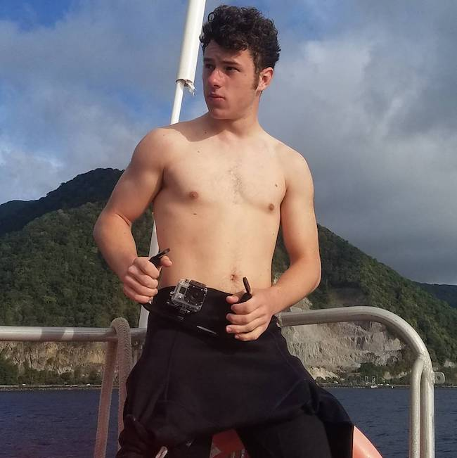Nolan Gould shirtless on a vacation in Dominica in March 2017