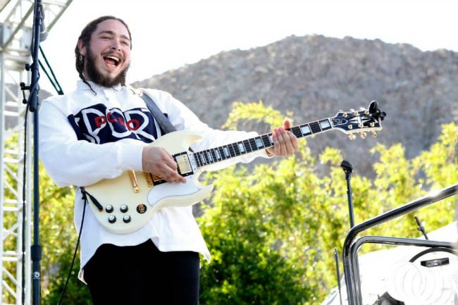 Post Malone performing at the Coachella Republic Records Jaegermeister Party in April 2016