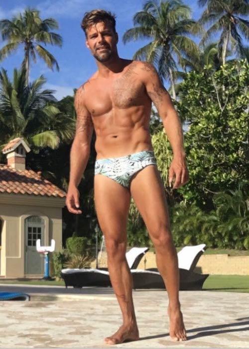 Ricky Martin shirtless body as seen on social media in 2016