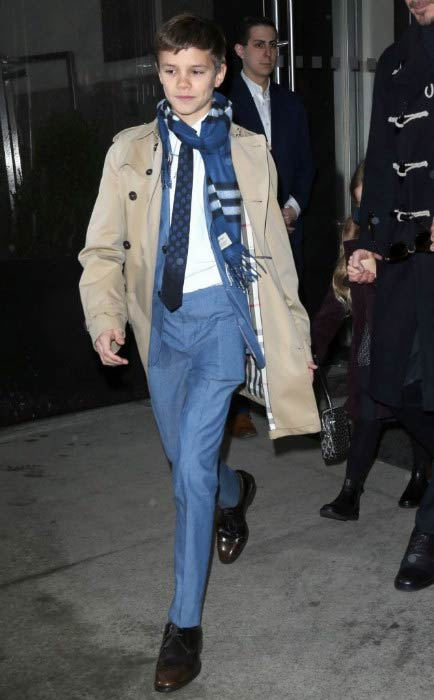 Romeo Beckham leaving the hotel in New York City in February 2017