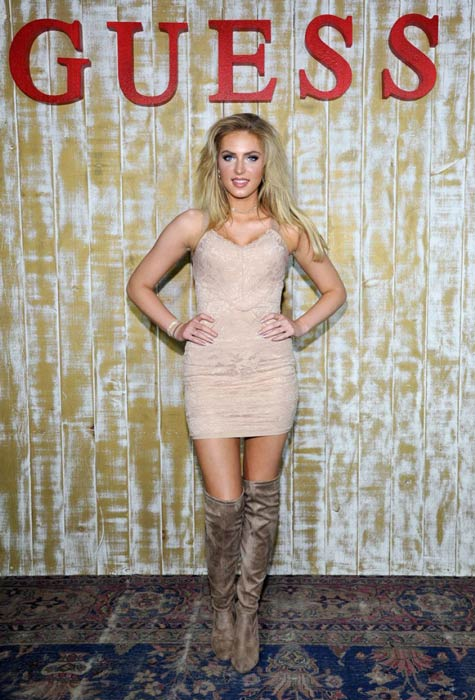 Saxon Sharbino at the GUESS Glitz and Glam Holiday event in December 2016