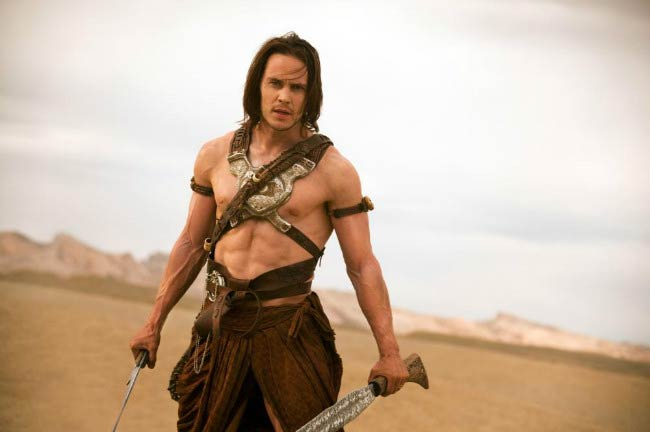 Taylor Kitsch shirtless in a still from his movie John Carter released in 2012