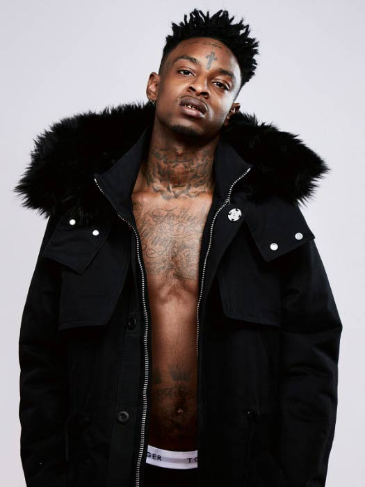 21 Savage poses for a modeling photoshoot in 2016