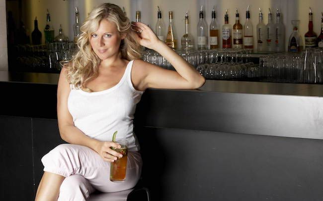 Abi Titmuss with a drink