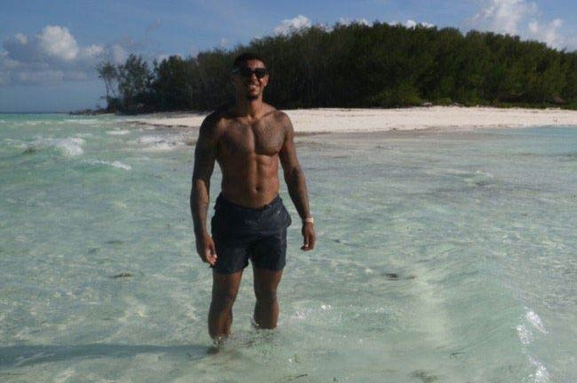 Andre Gray shirtless body as seen on his social media in 2017