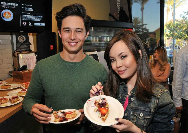 Anna Maria Perez de Tagle and Ivan Dorschner at Belgium Waffle Haus Latte Art Competition in May 2015