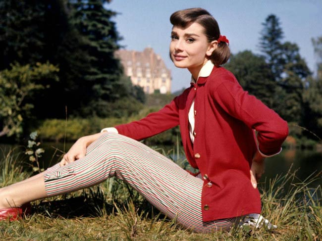 Audrey Hepburn poses for a modeling photoshoot
