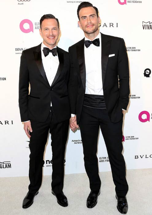 Cheyenne Jackson and Jason Landau at the 2016 Elton John AIDS Foundation's Oscar Viewing Party