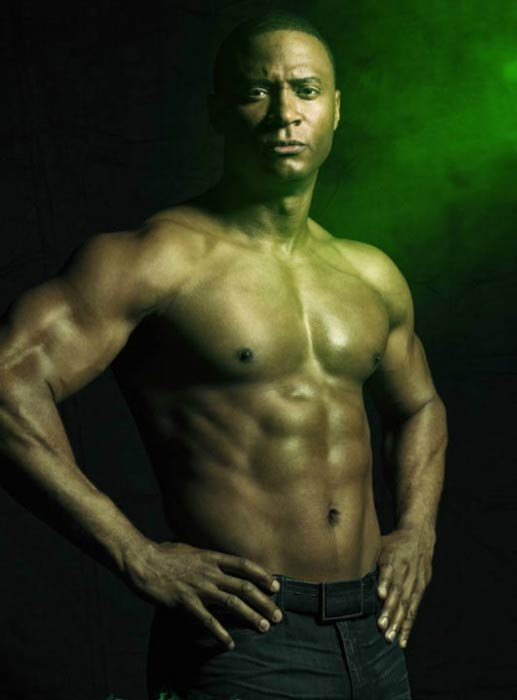 David Ramsey shirtless in a promotional photoshoot for Arrow TV series