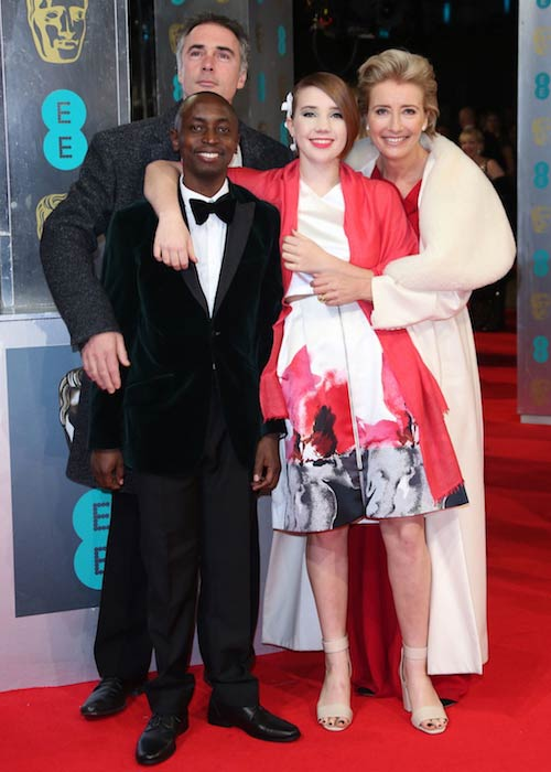 Emma Thompson with her husband Greg, adopted son Tindy and daughter Gaia at the 2014 BAFTA Awards in London