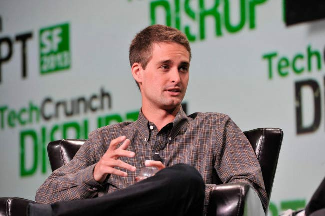 Evan Spiegel at the TechCrunch Disrupt SF event in September 2013