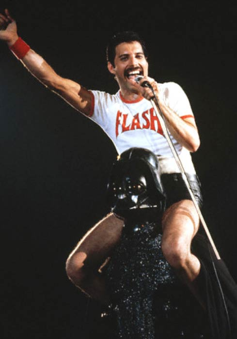Freddie Mercury performing at the music concert in 1980