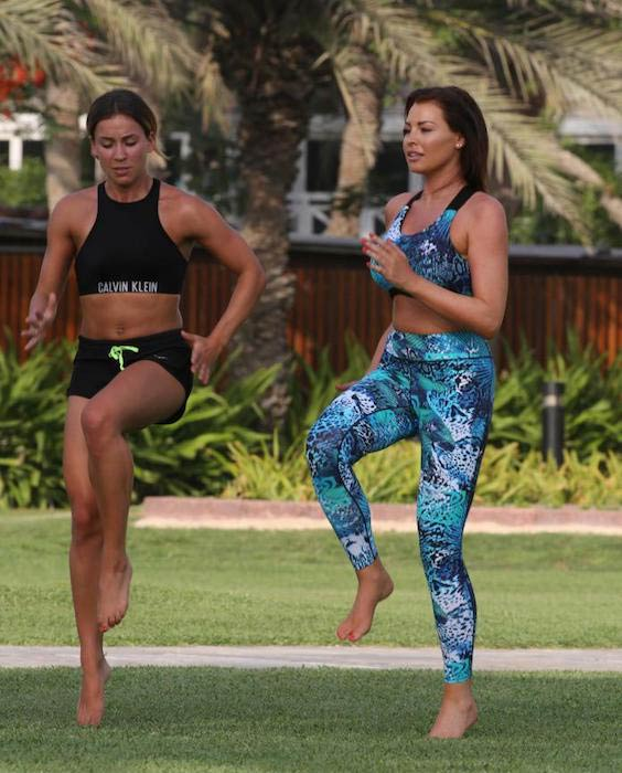 Jessica Wright exercising outdoors