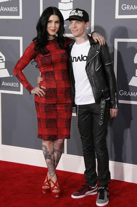Kat Von D with ex-boyfriend Joel Zimmerman/Deadmau5 at the 55th Grammy Awards in 2013