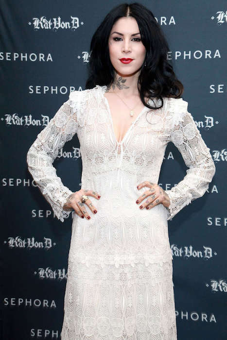 Kat Von D at her first solo art show at Sephora Soho in New York City in May 2012