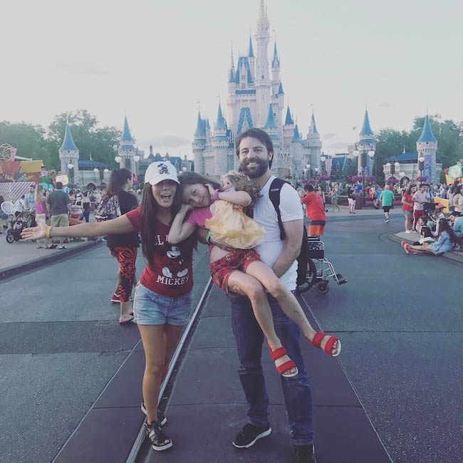 Marisol Nichols with husband, Taron Lexton and daughter Rain at Disney World in April 2017
