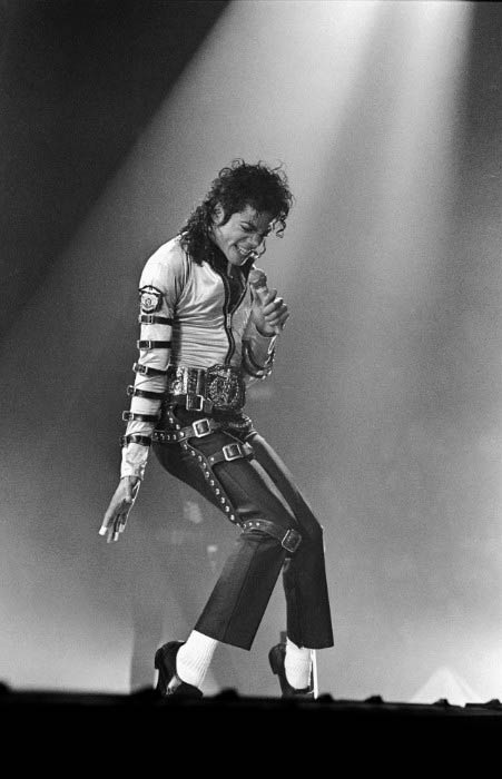 Michael Jackson on stage at his concert