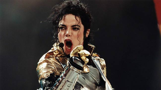 Michael Jackson performing at a concert in Bremen, Germany in May 1997