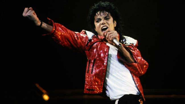 Michael Jackson performing at the concert in late eighties