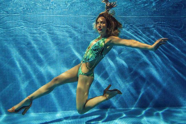 Myleene Klass swimming