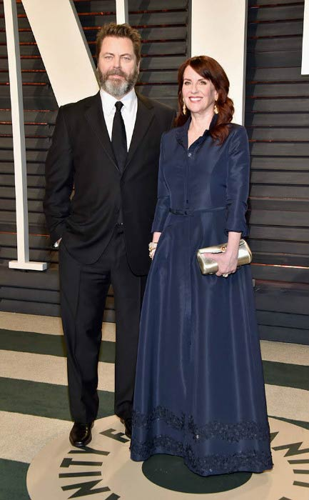Nick Offerman and Megan Mullally at the Vanity Fair Oscar Party in February 2017